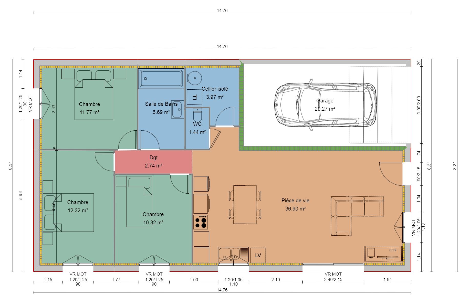 Maison  m² avec terrain à COLOMBIER-SAUGNIEU (69) 1